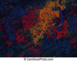 Flames of Blue - Acrylic in blue, red, and yellow