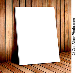 white poster frame in wooden room,mock up for your content.