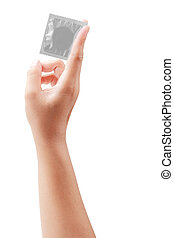 condom in female hand isolated on white with clipping path