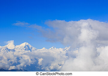 rolling clouds and snow mountain - beautiful rolling clouds...