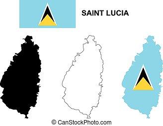 Saint Lucia map vector, Saint Lucia flag vector, isolated...