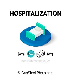 Hospitalization icon in different style - Hospitalization...