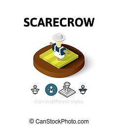 Scarecrow icon in different style - Scarecrow icon, vector...