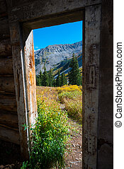 Colorado Landscape Framed by Old Cabin Ruins near Conundrum...