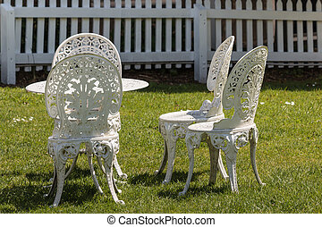 white wrought iron garden furniture - white cast iron garden...