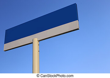 Blank Blue Road Sign with clear blue sky background