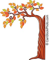 Autumn tree isolated on white - Vector illustration of...