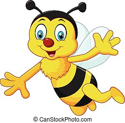 Cartoon bee waving hand isolated - Vector illustration of...
