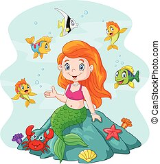 Happy little mermaid sitting - Vector illustration of Happy...