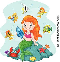 Happy little mermaid holding - Vector illustration of Happy...