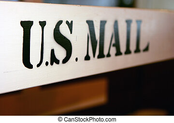 US mail - Old style US mail sign with black paint on white...