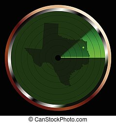 Radar on Texas - The screen of a typical radar device in...