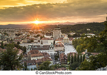 Panorama of capital city Ljubljana, Slovenia - Panorama of...