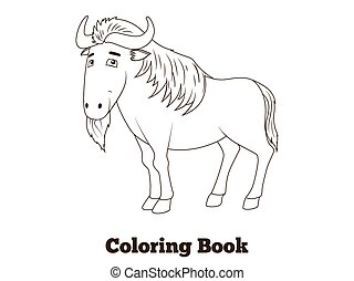 Coloring book wildebeest african savannah animal cartoon...