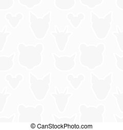 Animals heads silhouette seamless pattern Vector light gray...