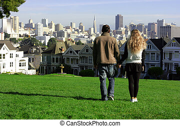 Couple in San Francisco - Young couple walking along the...