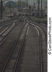 Railroad tracks at train station, transportation infrastructure