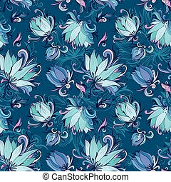 Blue Lotus Vector Pattern - Seamless vector texture with...