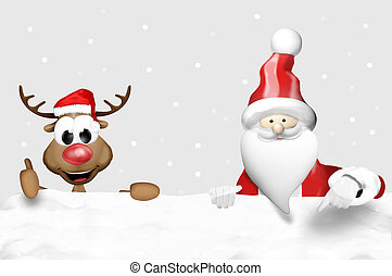 Christmas Santa Claus and Happy Reindeer