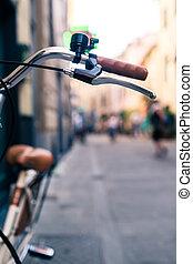 美しい, 都市, 自転車, 上に, ぼんやりさせられた,  bokeh, 自転車, 背景, ハンドル