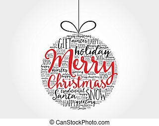 Christmas ball word cloud, holidays lettering collage