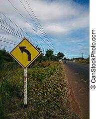 w1-2, 路, 曲線, 簽署, 警告, 左