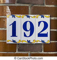 Number 192 - ceramic house number one hundred and ninty two