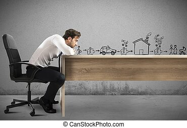 Think about future goals - Man leaning on desk with...