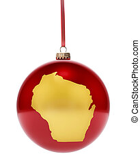Red bauble with the golden shape of Wisconsinseries - A...