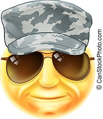 Soldier Emoji Emoticon - A soldier emoji emoticon smiley...