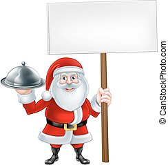 Cartoon Santa Platter Sign