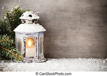 Lantern - Lantern with christmas tree, Christmas decor...