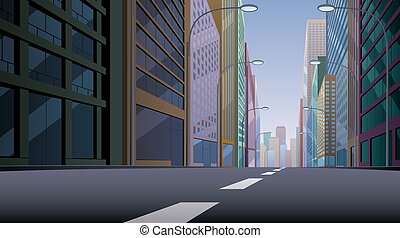 City Street - City street background illustration. Basic...