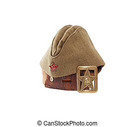Old Leather Belt And Garrison Cap - World War II Soviet...