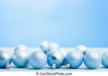 blue christmas balls decoration background