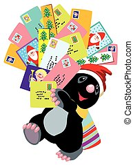 mole holding greeting cards - cartoon mole holding Christmas...