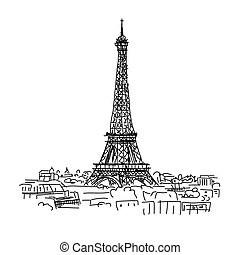 Paris,cityscape with Eifel Tower Sketch for your design