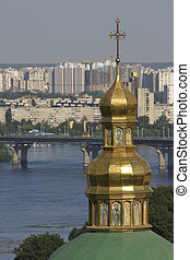 Kiev skyline - Tower of lower Lavra monastery in front of...