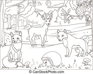 Coloring book forest with cartoon animals