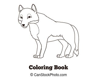 Coloring book forest animal wolf cartoon