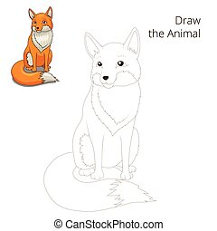 Draw the forest animal fox cartoon for children vector...