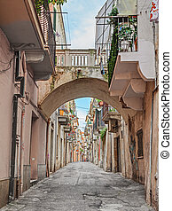 alley in the ancient town Ortona, Abruzzo, Italy -...