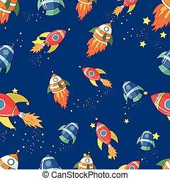 Seamless pattern cartoon rocket vector illustraion -...