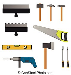 Set of tools Putty knife hammer screwdriver saw axe and...