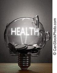 poupança, conceito, saúde, cuidado, custos