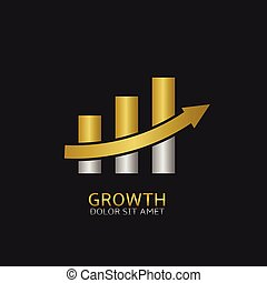 Growth concept icon - Growth business icon with golden and...