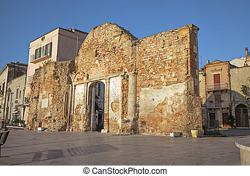 cityscape of Vasto, Abruzzo, Italy - ruins of an ancient...