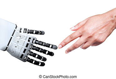 Robot human hand connection - Robot and human touching...