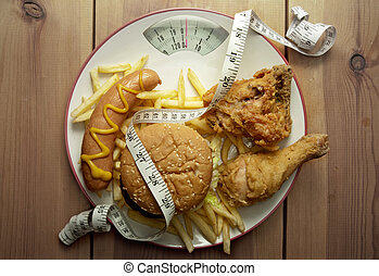 Junk food diet weighing scales - Plate packed with junk food...