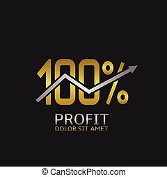 One hundred PROFIT logo - One hundred Profit golden icon...